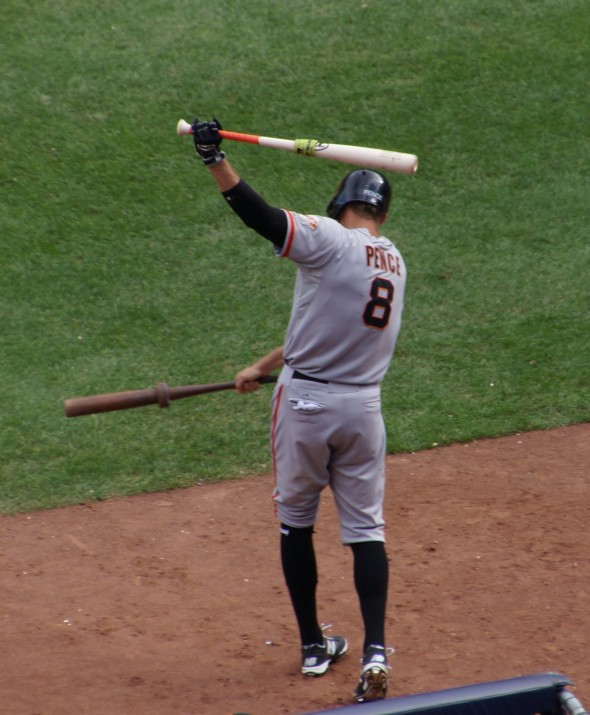 Hunter Pence swings two bats 9/21/13 at Yankee Stadium. Photo by Denise Walos.