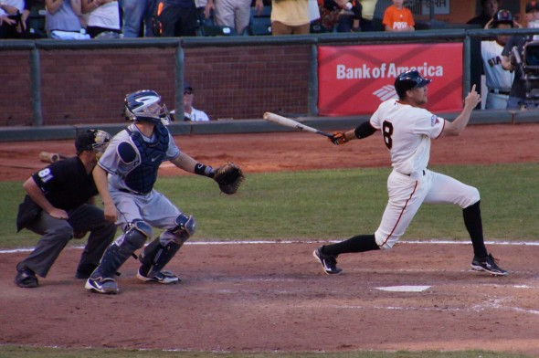Pence hits a walkoff single in the bottom of the 9th inning on 9/29/13. Photo by Denise Walos.