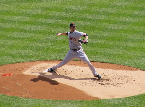 Ryan Vogelsong pitching on Saturday 9/21/13 at Yankee Stadium. Photo by Denise Walos.