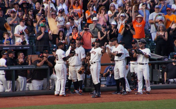 Zito bids AT&T farewell after striking out Kotsay. Photo by Denise Walos