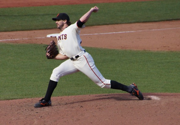 Zito throws his last pitch as a Giant on 9/29/13. Photo by Denise Walos.
