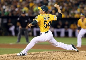 Oct 5, 2013; Oakland, CA, USA; Oakland Athletics starting pitcher Sonny Gray (54) pitches the ball against the Detroit Tigers during the sixth inning in game two of the American League divisional series playoff baseball game at O.co Coliseum. Mandatory Credit: Kelley L Cox-USA TODAY Sports
