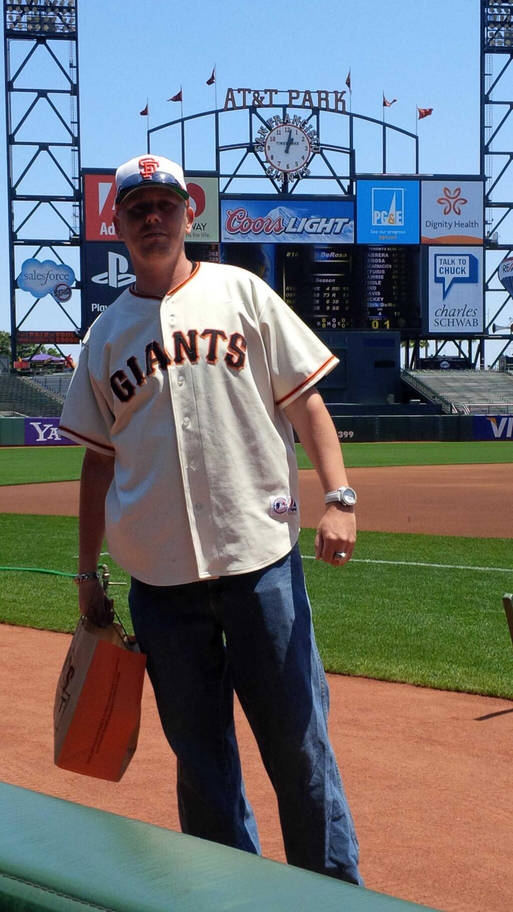 Standing outside the Giants Dugout