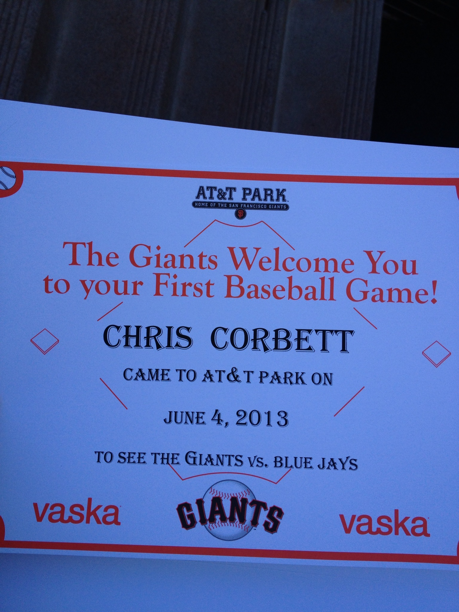 Certificate for first time visitors to AT&T Park