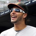 Aug 31, 2013; Bronx, NY, USA; Baltimore Orioles outfielder Mike Morse (38) before the start of a game against the New York Yankees at Yankee Stadium. Morse was acquired by the Orioles yesterday in a trade with the Seattle Mariners. Mandatory Credit: Brad Penner-USA TODAY Sports