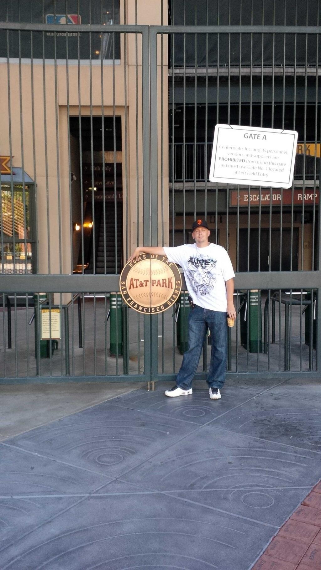 Standing at the Willie Mays entrance