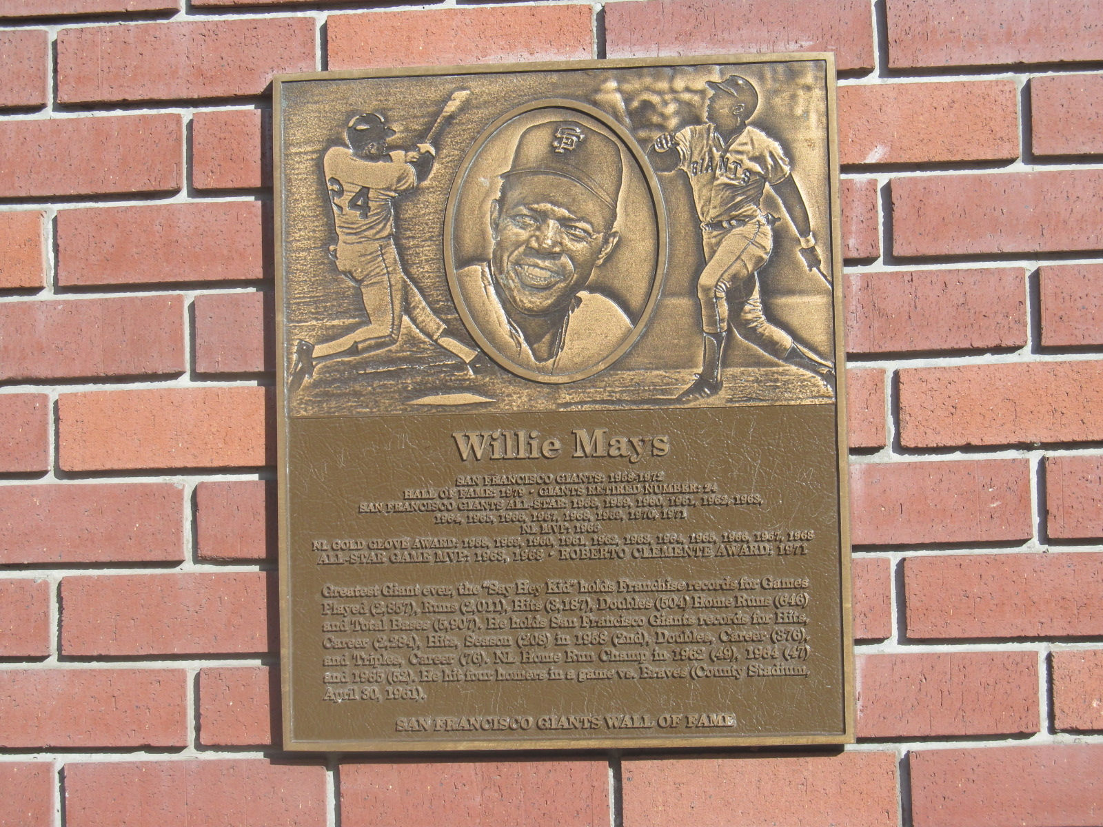 Willie Mays Plaque on the AT&T Park outside wall