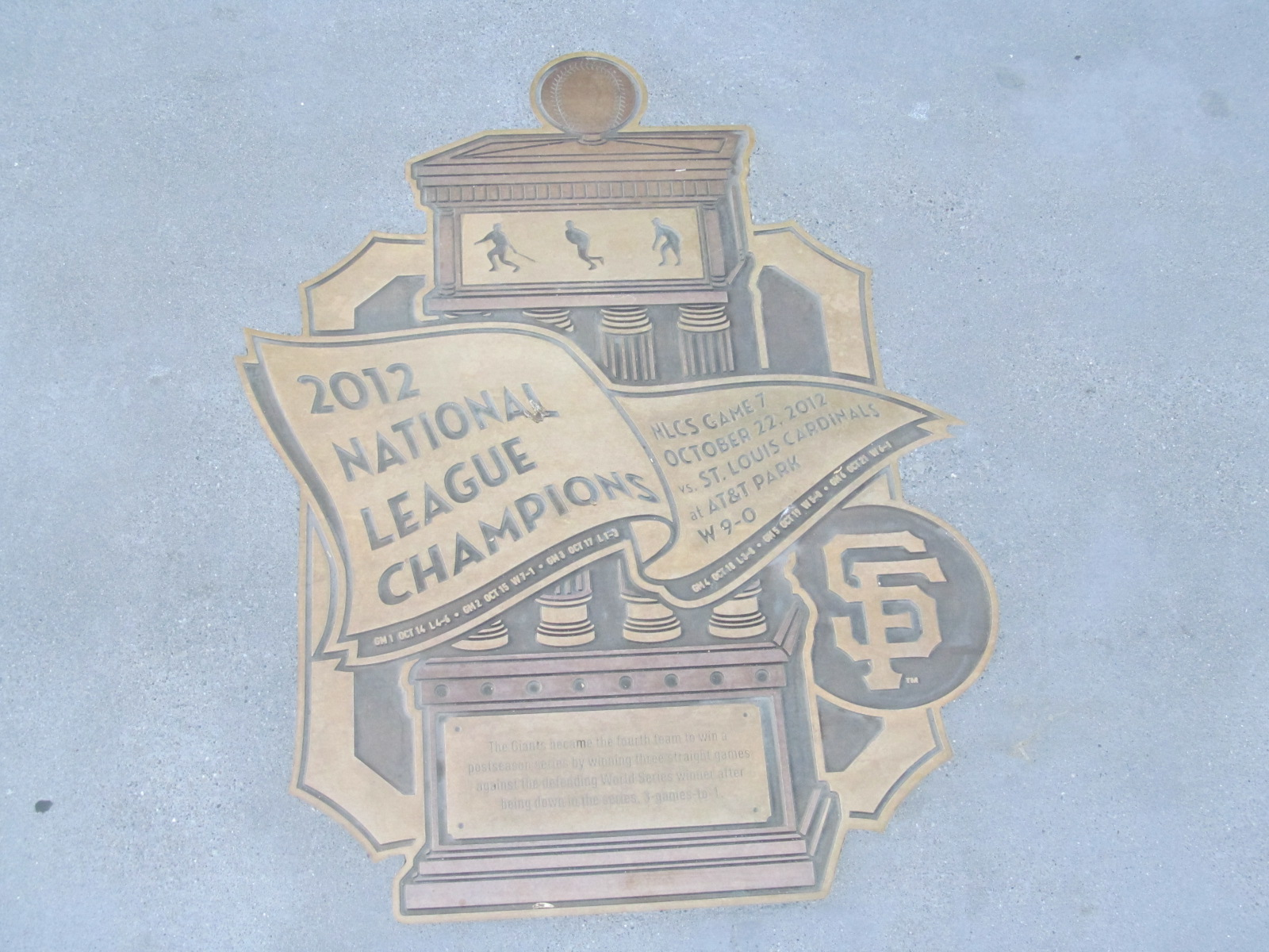 2012 National League Champions Plaque