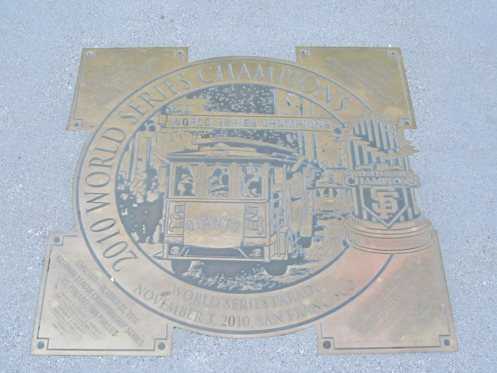 2010 World Series Parade Plaque
