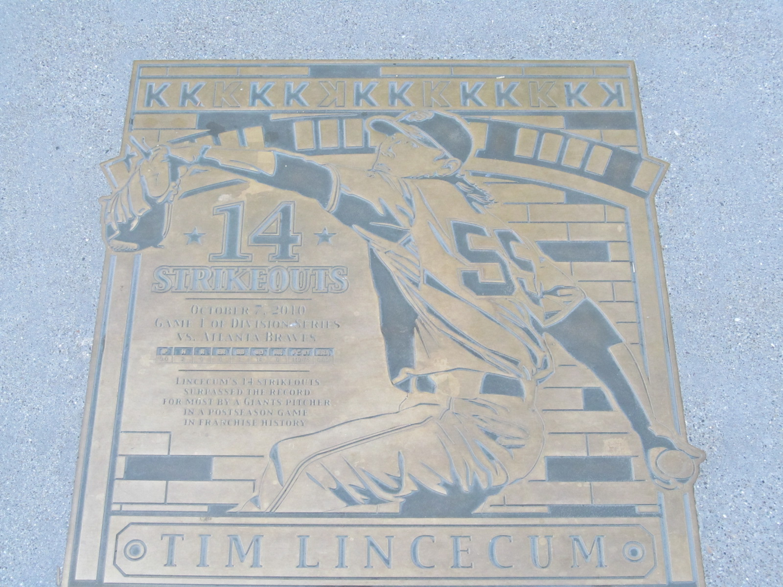 Tim Linecum 2010 NLDS 14 Strikeout Plaque