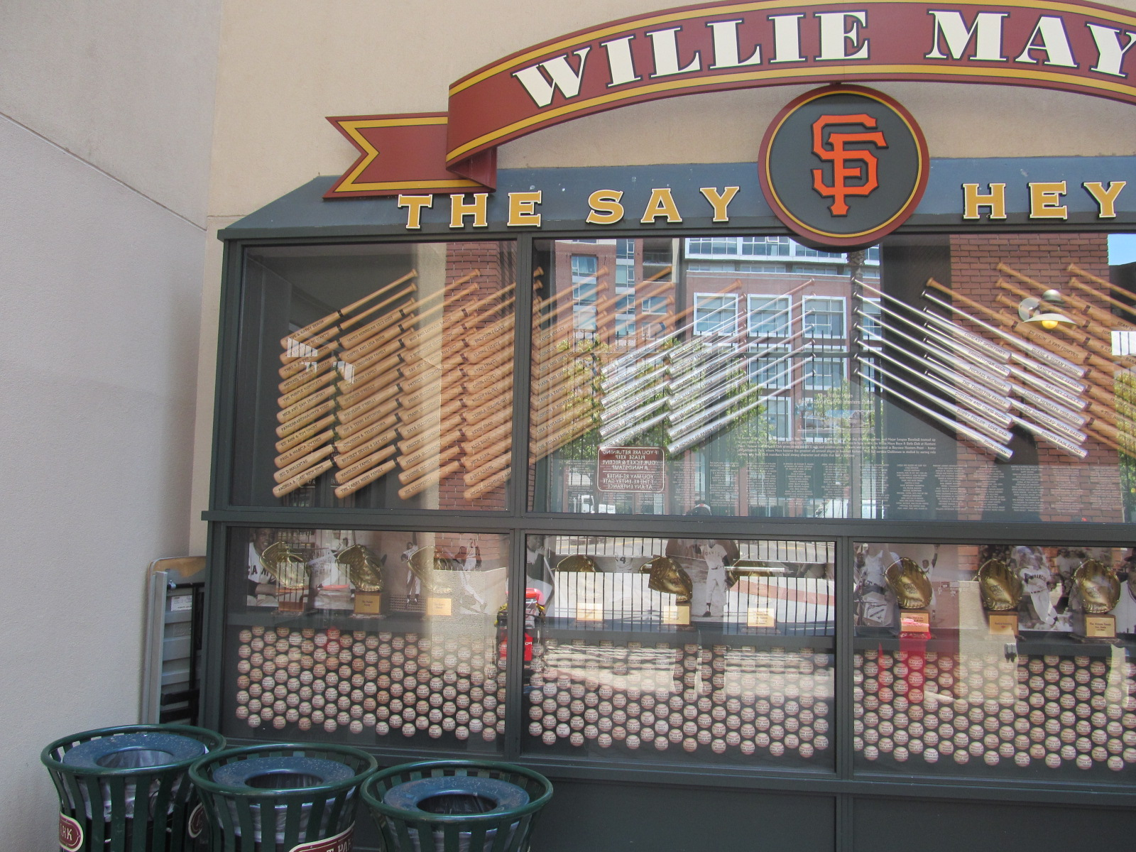 Willie Mays display featuring all of his Gold Gloves and Silver Sluggers