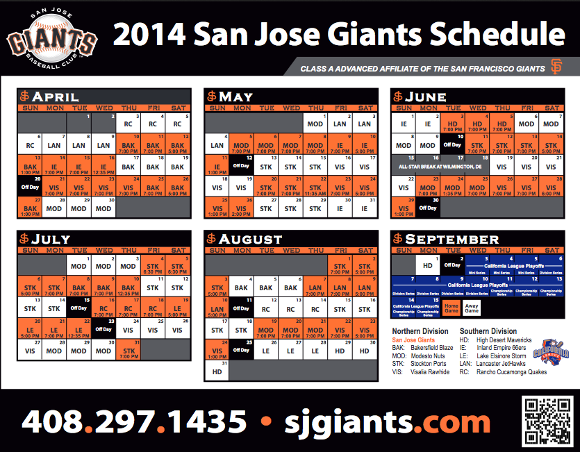 San Jose Giants 2014 Schedule