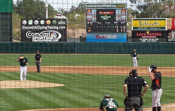 Brandon Belt up to bat at Athletics