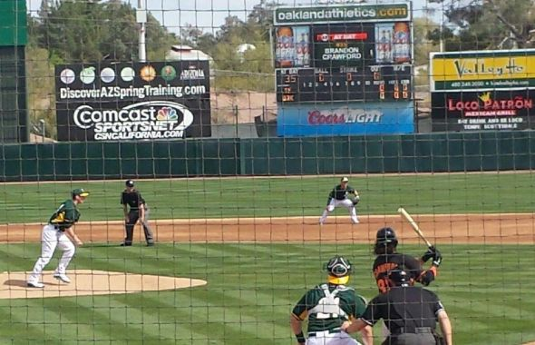 Crawford hit's a triple for Giants at Athletics today
