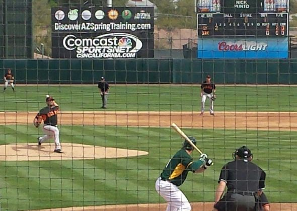 Edwin Escobar pitching the first inning at Athletics