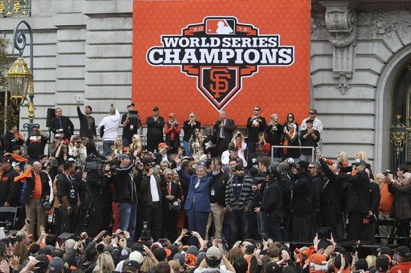"October 31, 2012; San Francisco, CA, USA; Tony Bennet sings ""I left my heart in San Francisco"" in front of the San Francisco Giants team during the World Series victory celebration at City Hall. The Giants defeated the Detroit Tigers in a four-game sweep to win the 2012 World Series. Mandatory Credit: Kelley L Cox-USA TODAY Sports"