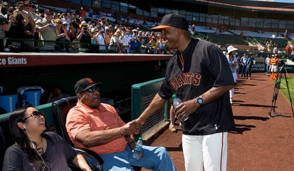 San Francisco Giants Willie McCovey, Willie Mays, Barry Bonds