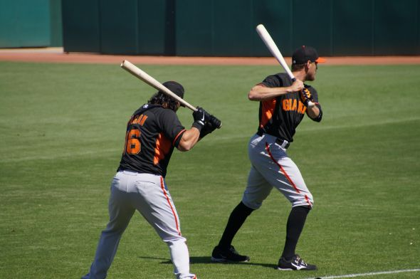 Pagan and Pence warming up before the Reds game on March 11, 2014. Photo by Denise Walos.