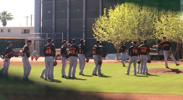 SF Giants pitchers doing drills in the backfield of Scottsdale Stadium before the game.