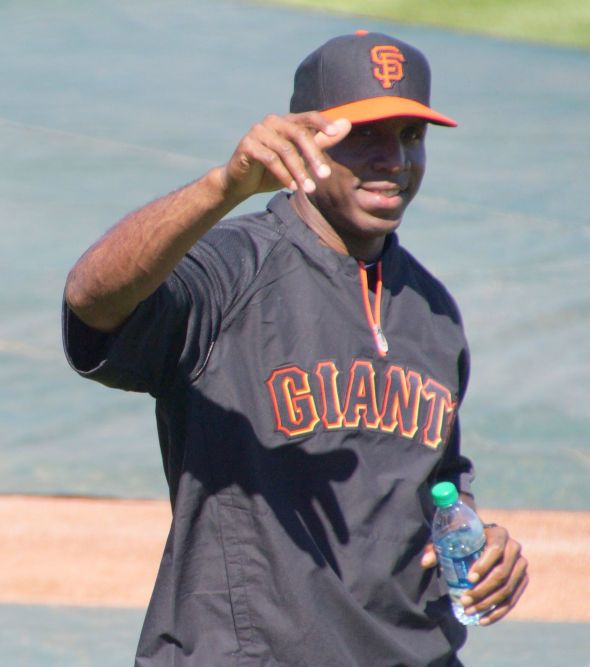 Barry Bonds at Spring Training on March 10, 2014 working with Giants during BP. Photo by Denise Walos.