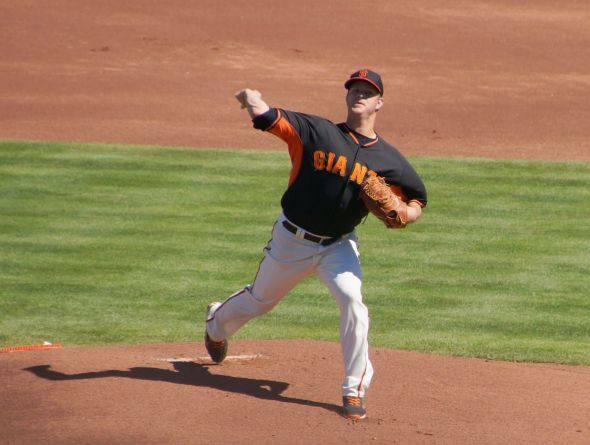 Matt Cain pitched five perfect innings against the Cubs on March 9, 2014.