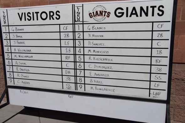 Giants Futures Lineups from March 9, 2012