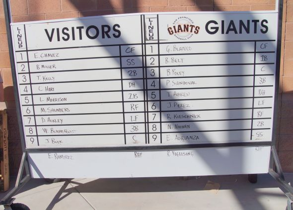 Giants and Mariners Lineup from March 8, 2014.