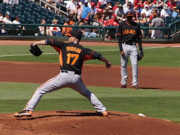 Tim Hudson pitching the 1st inning against the Reds on March 11, 2014. Photo by Denise Walos.