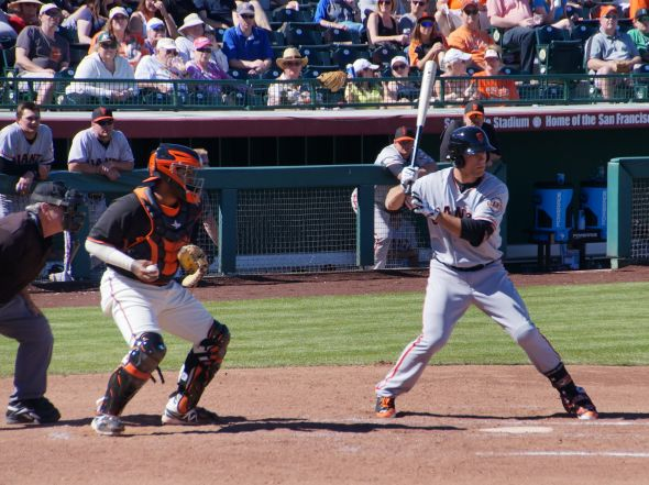 Mac Williamson up to bat against Madison Bumgarner at the Futures game on March 8, 2014.