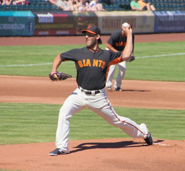 Madison Bumgarner pitching against the Future SF Giants on March 9, 2014