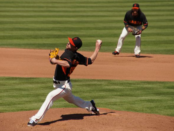 Timmy pitching the 4th inning vs. White Sox on March 12, 2014. Photo by Denise Walos.