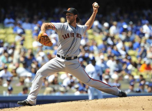 April 5, 2014; Los Angeles, CA, USA; San Francisco Giants starting pitcher Madison Bumgarner (40) pitches the second inning against the Los Angeles Dodgers at Dodger Stadium. Mandatory Credit: Gary A. Vasquez-USA TODAY Sports