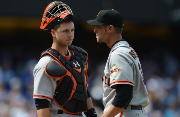Buster Posey and Ryan Vogelsong of the San Francisco Giants