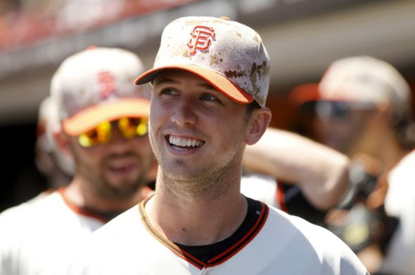 May 26, 2014; San Francisco, CA, USA; San Francisco Giants catcher Buster Posey (28) walked four times in today's game. Mandatory Credit: Cary Edmondson-USA TODAY Sports