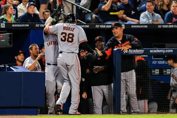 May 2, 2014; Atlanta, GA, USA; San Francisco Giants left fielder Michael Morse (38) celebrates a solo home run in the sixth inning against the Atlanta Braves at Turner Field. Mandatory Credit: Daniel Shirey-USA TODAY Sports
