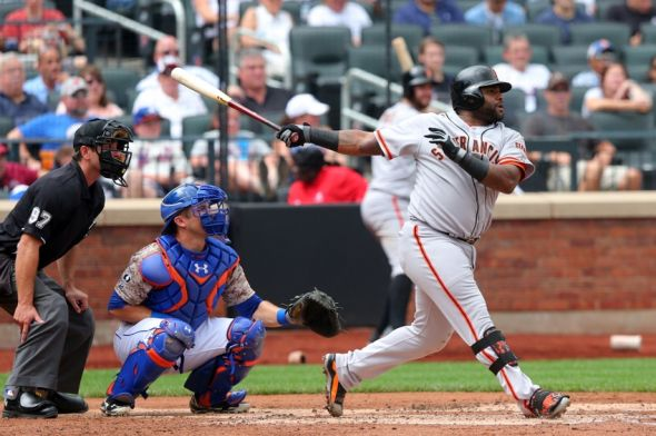 Aug 4, 2014; New York, NY, USA; San Francisco Giants third baseman Pablo Sandoval (48) hits a two-RBI double against the New York Mets during the third inning of a game at Citi Field. Mandatory Credit: Brad Penner-USA TODAY Sports