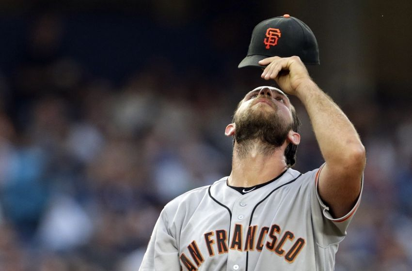 Jul 22, 2016; Bronx, NY, USA; San Francisco Giants starting pitcher Madison Bumgarner (40) reacts during the second inning of an inter-league baseball game against the New York Yankees at Yankee Stadium. Mandatory Credit: Adam Hunger-USA TODAY Sports
