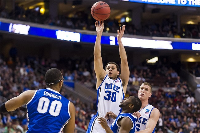 Mar 24, 2013; Philadelphia, PA, USA; Duke Blue Devils guard Seth Curry (30) shoots a jump shot during the first half against the Creighton Bluejays during the third round of the NCAA basketball tournament at Wells Fargo Center. Mandatory Credit: Howard Smith-USA TODAY Sports