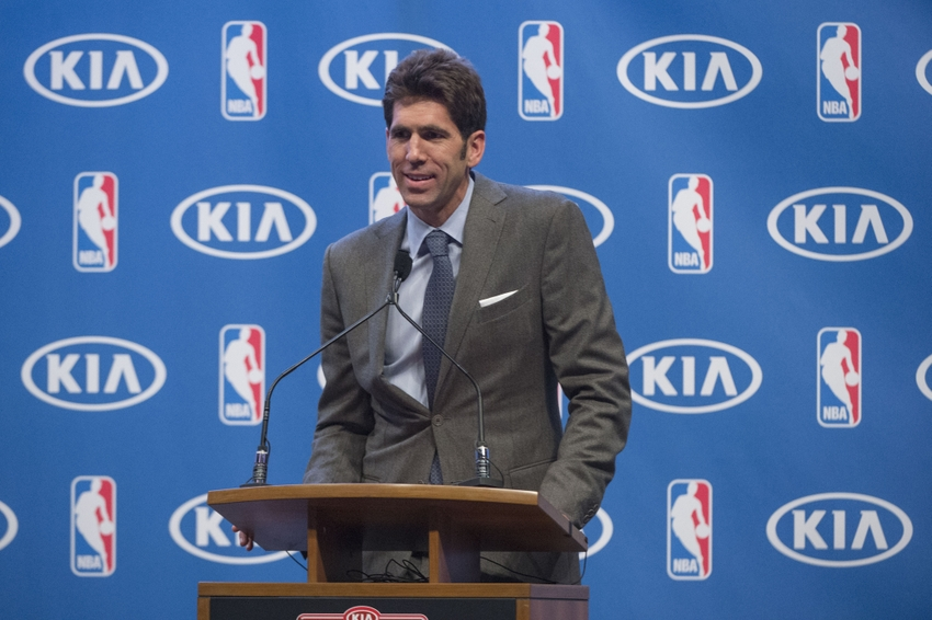 May 10, 2016; Oakland, CA, USA; Golden State Warriors general manager Bob Myers speaks during the 2015-2016 NBA Most Valuable Player trophy awarded to guard Stephen Curry (not pictured) at Oracle Arena. Mandatory Credit: Kyle Terada-USA TODAY Sports