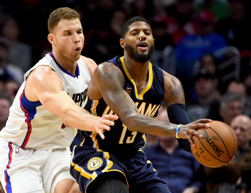 Dec 4, 2016; Los Angeles, CA, USA; Los Angeles Clippers forward Blake Griffin (32) guards Indiana Pacers forward Paul George (13) in the first half of the game at Staples Center. Mandatory Credit: Jayne Kamin-Oncea-USA TODAY Sports