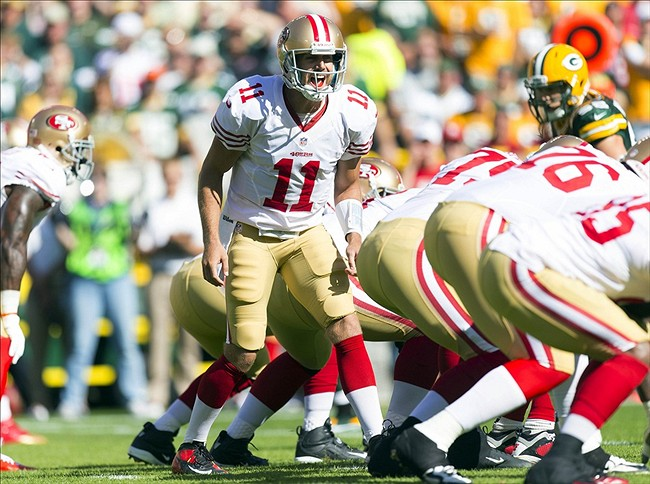 NFL: San Francisco 49ers at Green Bay Packers. Quarterback Alex Smith (11) calls an audible on offense. Mandatory Credit: Jeff Hanisch-US PRESSWIRE