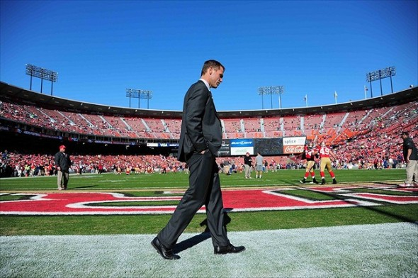 December 4, 2011; San Francisco, CA, USA; San Francisco 49ers general manager Trent Baalke walks through the endzone during warm ups before the game against the St. Louis Rams at Candlestick Park. The 49ers defeated the Rams 26-0. Mandatory Credit: Kyle Terada-USA TODAY Sports
