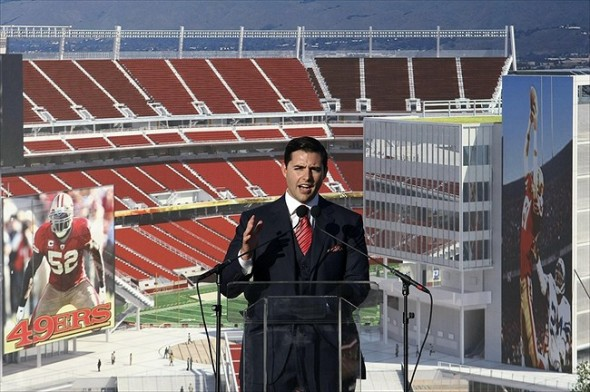 April 19, 2012; Santa Clara, CA, USA; San Francisco 49ers chief executive officer Jed York speaks during the groundbreaking ceremony at the site of the new 49ers stadium. Mandatory Credit: Kelley L Cox-USA TODAY Sports