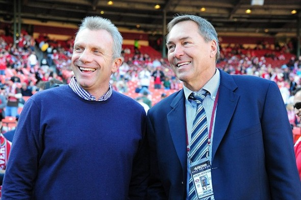 December 4, 2011; San Francisco, CA, USA; San Francisco 49ers former players Joe Montana (left) and Dwight Clark (right) before the game against the St. Louis Rams at Candlestick Park. The 49ers defeated the Rams 26-0. Mandatory Credit: Kyle Terada-USA TODAY Sports