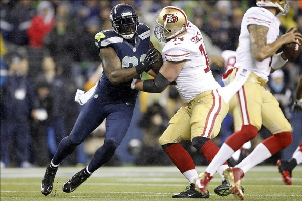 Dec 23, 2012, Seattle, WA, USA; Seattle Seahawks defensive end Chris Clemons (91) rushes the passer against San Francisco 49ers tackle Joe Staley (74) during the second quarter at CenturyLink Field. Mandatory Credit: Joe Nicholson-USA TODAY Sports