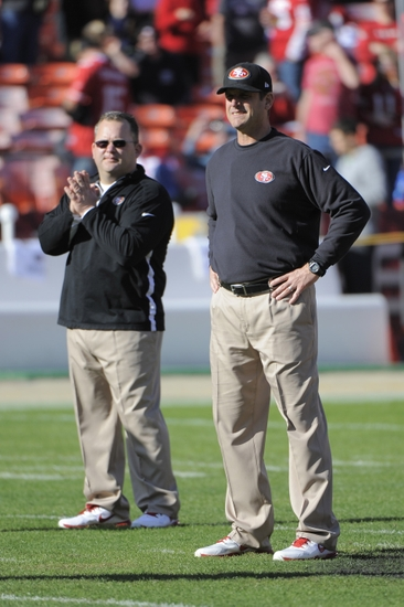 San Francisco, CA, USA; San Francisco 49ers head coach Jim Harbaugh (right) and offensive coordinator Greg Roman (left) Mandatory Credit: Kyle Terada-USA TODAY Sports