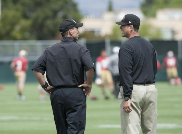 Jun 11, 2013; San Francisco, CA, USA; San Francisco 49ers general manager Trent Baalke (left) and head coach Jim Harbaugh chat during mincamp at San Francisco 49ers training facility. Mandatory Credit: Ed Szczepanski-USA TODAY Sports