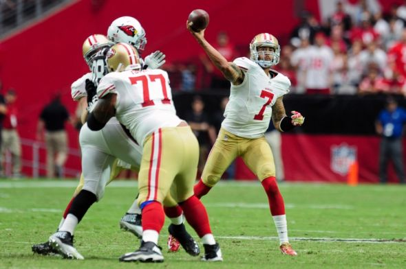 NFL: San Francisco 49ers at Arizona Cardinals. Quarterback Colin Kaepernick (7) attempts a pass at the University of Phoenix Stadium. Mandatory Credit: Matt Kartozian-USA TODAY Sports