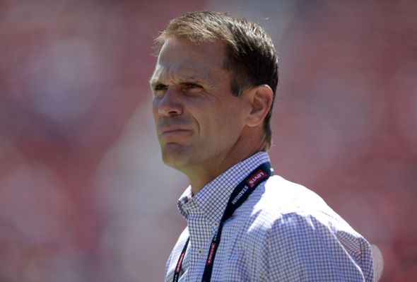 Aug 17, 2014; Santa Clara, CA, USA; San Francisco 49ers general manager Trent Baalke attends the inaugural football game at Levi's Stadium against the Denver Broncos. Mandatory Credit: Kirby Lee-USA TODAY Sports