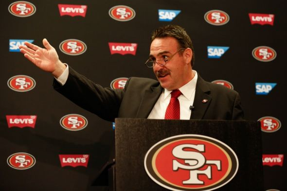 Jan 15, 2015; Santa Clara, CA, USA; San Francisco 49ers head coach Jim Tomsula speaks to the media during the introduction as the 49ers head coach at Levi's Stadium Auditorium. Mandatory Credit: Kelley L Cox-USA TODAY Sports